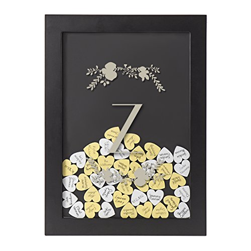 (Cathy's Concepts S3930B-7-Z Floral Personalized Silver Heart Drop Guestbook One size Black)