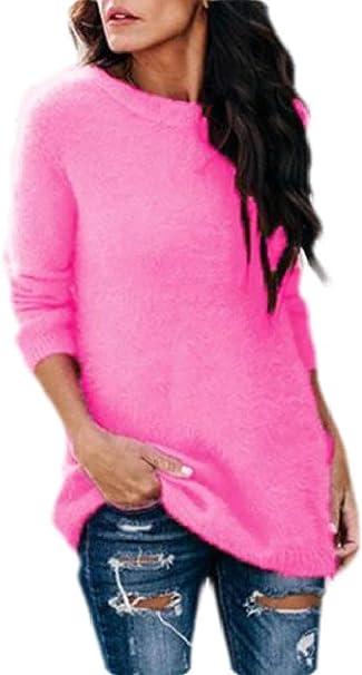 ouxiuli Womens Fleece Sweater V Neck Loose Fuzzy Knitted Jumper Pullover Outwear