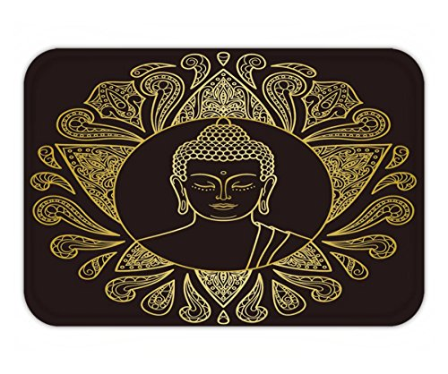 Beshowere Doormat hand drawn gold buddha head with lotus decoration sign for tattoo textile print mascots (Ravenclaw Mascot)