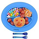 Silicone Baby Placemat, Improved Non-Slip Baby Plates, Suction Self Feeding Set Fit Most Highchair(Blue)