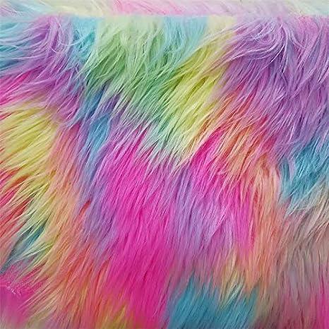 Tela de felpa jacquard arco iris de pelo sintético de pelo corto para manualidades de costura 45 x 150 cm