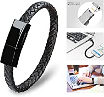 Bsolli Bracelet Lightning Cable,Fashion Portable Leather Braided Fast charging Cable for iPhone,iPad,iPod(9.1inch,Black)