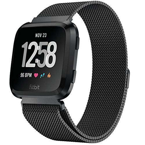 iiteeology Compatible Fitbit Versa Bands for Women Men, Stainless Steel Milanese Loop Replacement Strap for Fitbit Versa Fitness Smart Watch, Large 6.5