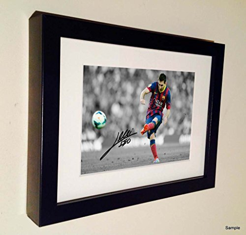 Signed Lionel Messi Barcelona Photo Photograph Picture Frame Autograph Football by Kicks by Kicks