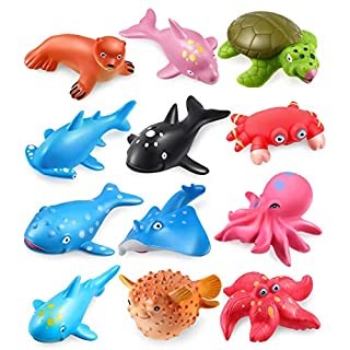 Geyiie Baby Bath Toys, Soft Cute Ocean Animals Bath Squirters Bathtub Toys for Toddler, Floating Fish Pool Toys, Water Toys for Kids, Gifts for Boys & Girls (12PCS)