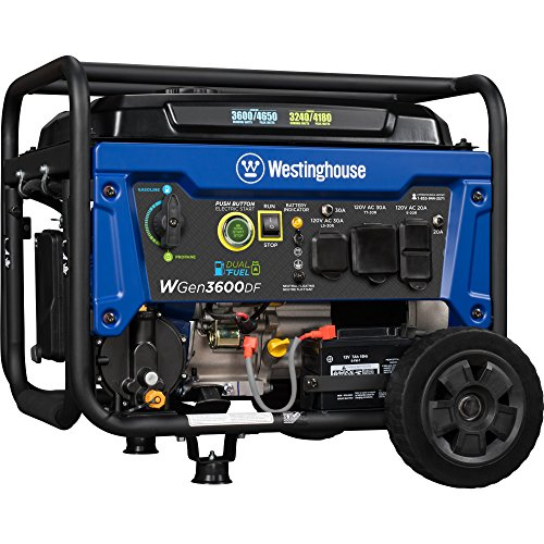 Westinghouse WGen3600DF Dual Fuel (Gas and Propane) Electric Start Portable Generator - 3600 Rated Watts & 4650 Peak (Dual Generator)