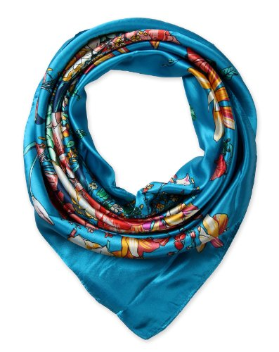 corciova Women's silk Like scarf for hair wrapping headwrap 35 x 35 inches Flowers Dark Turquoise
