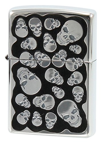 Zippo Random Skull Ebony Wood Inlay Oxidized Silver Etching Japan Limited