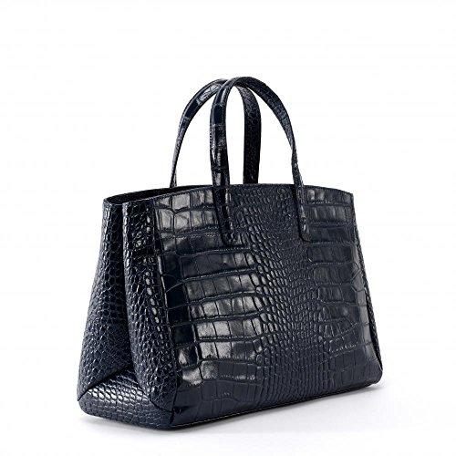 Façon BAG Croco Lady Fonce Bleu à femme Main MY Modèle Sac cuir OH Be 0qa8R50