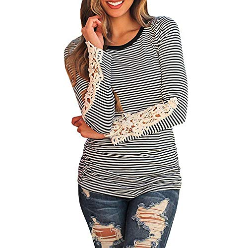 ❤ Camiseta Casual de Manga Larga para Mujer, Moda Sólido O-Cuello Apliques Tops Blusa Absolute: Amazon.es: Ropa y accesorios