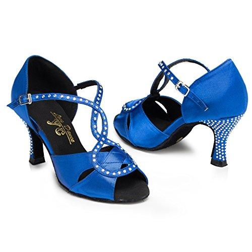 Blue T Minitoo Shoes Heel Sandals strap Stiletto Satin Latin Women's Dance x77qwIrv