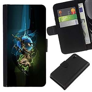 A-type (Extracto de Sci Fi Espacio Árbol) Colorida Impresión Funda Cuero Monedero Caja Bolsa Cubierta Caja Piel Card Slots Para Sony Xperia Z3 D6603