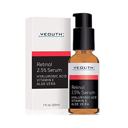 Retinol Sérum 2,5% con ácido hialurónico, aloe vera, vitamina E - aumenta la producción de ...