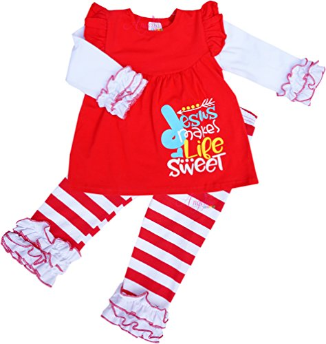 Boutique Clothing Girls Valentine Love Jesus Makes Life Sweet Ruffle Pant Set - Sweet The Apparel Life