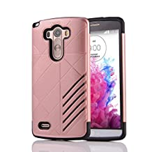 MOONCASE LG G3 Case Hybrid Armor Tough Rugged [Anti Scratch] Dual Layer TPU +PC Frame Protective Case Cover for LG G3 Rose Gold