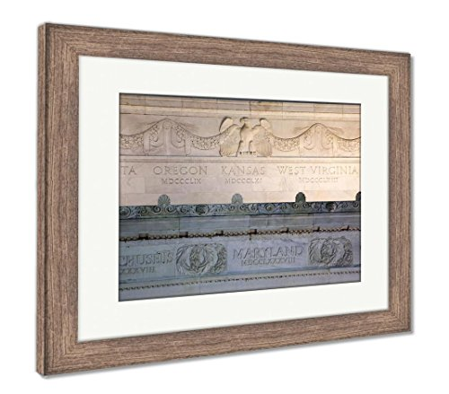 Ashley Framed Prints Lincoln Memorial Close Up Details Marble Eagle Washington Dc, Wall Art Home Decoration, Color, 26x30 (frame size), Rustic Barn Wood Frame, (Lincoln Memorial Framed Photograph)