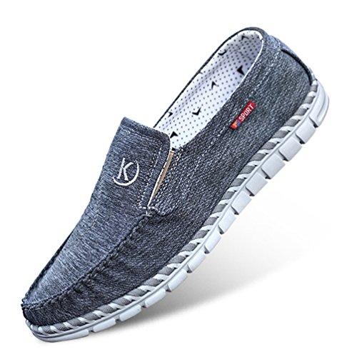 Piatte Gomma Feidaeu Rilassato Pantofola Suola Scarpe in Cuciture Rotonda Nero Traspirante Auto Mens Toe Confortevole qw4wZXP