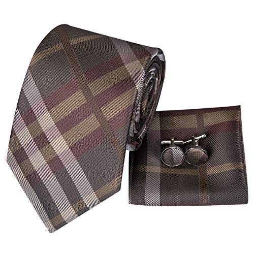Hi-Tie Men Brown Plaids Tie Pocket Square and Cufflinks Necktie Set Wedding Tie