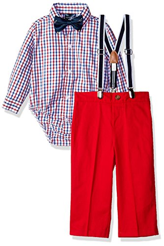 Dressy Baby Clothes Boy - Nautica Baby  Boys' Set with Shirt, Pant, Suspenders, and Bow Tie, Red Tango Check, 6-9 Months