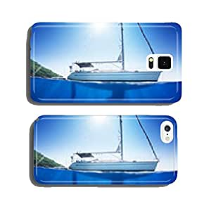 Sunlight seaview to sailboat in tropical sea with deep blue cell phone cover case iPhone6