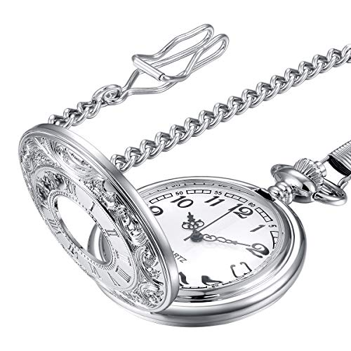 LYMFHCH Vintage Roman Numerals Quartz Pocket Watch, Men Womens Watch with Chain As Xmas Fathers Day Gift ()