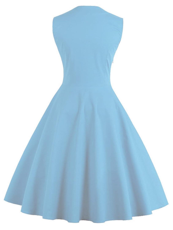 VERNASSA Women\'s 50s Retro Fancy Dresses,1950s Vintage A-Line Cotton ...