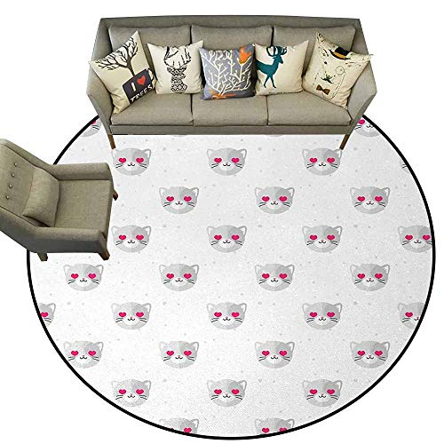Emoji,Floor Mat for Toilet Non Slip D54 Cat Faces with Pink Heart Shaped Eyes Romantic Animal Kitty Mascot in Love Outdoor Carpet Pale Grey Pink White