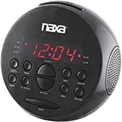 NAXA NRC-172 PLL Digital Dual Alarm Clock with AM/FM Radio and Snooze (Black Lacquer)