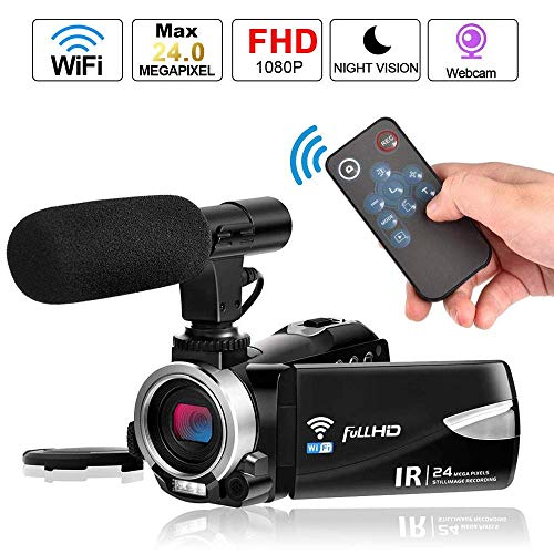 Camcorder Video Camera,Weton WiFi Vlog Camera for YouTube Digital Camcorder with External Microphone HD 1080P 24.0MP 30 FPS Video Camera IR Night Vision Vlogging Camera Recorder with 2 Batteries