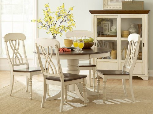 Homelegance Ohana 5 Piece Round Dining Table Set in Antique White and Warm Cherry (Antique White Table Dining Set)