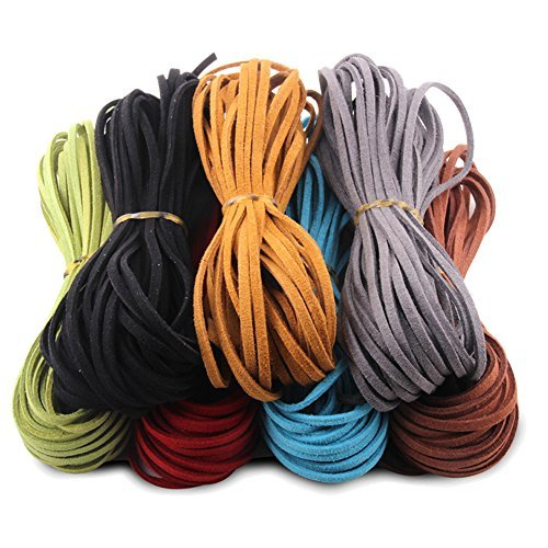 Faux Microfiber Leather (Micro-Fiber Flat Leather Lace Beading Thread Faux Suede Cord String Velvet Beading Supplies(Mix 7 Colors Each 10 Yards))