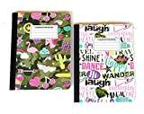 Girls Whimsy and Words Wide Ruled Composition Book Bundle - 2 Items: 1 White with Word Art and 1 Green Camo with Fun Symbols