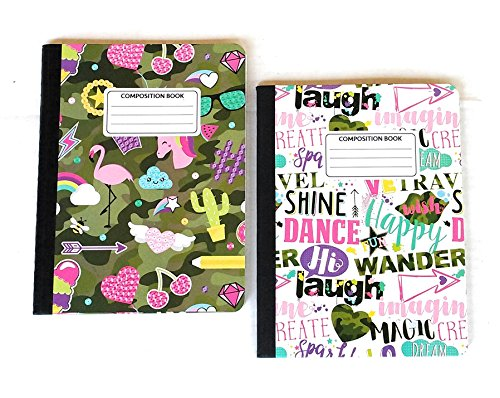 Girls Whimsy and Words Wide Ruled Composition Book Bundle - 2 Items: 1 White with Word Art and 1 Green Camo with Fun Symbols by JOT