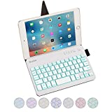 Portable Bluetooth Keyboard for iPad Tablets, Raydem Ultra Slim Bluetooth Keyboard with 7-Colors Backlight with Smart Stand Leather Case Cover for iPad Air 3/2/1, iPad Pro, iPad Mini 4/3/2/1, iPhone