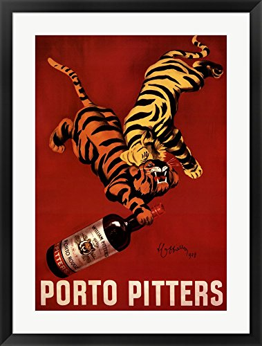 Cappiello Framed Art (Porto Pitters by Leonetto Cappiello Framed Art Print Wall Picture, Black Frame with Hanging Cleat, 27 x 35)
