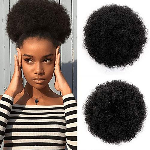- AISI QUEENS Short Afro Synthetic Curly Hair Ponytail African American Kinky Curly Wrap Drawstring Puff Ponytail Hair Extensions Wig with 2 Clips(Large 1#)