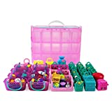 Bins & Things Stackable Storage Container for Shopkins Littlest Pet Shop Rainbow Loom Beads Disney Tsum Tsum Figures and Arts & Crafts Accessories with 30 Adjustable Compartments, Pink, X-Large