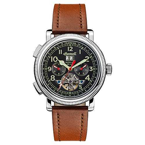 Ingersoll Men's Automatic Stainless Steel and Leather Casual Watch, Color:Brown (Model: I02602)