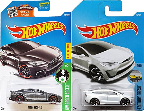 Hot Wheels 2017 New Casting White Model X #196 Factory Fresh Tesla Model S #242 Gray Green Speed 2 car bundle in Protective Cases (Halloween Fright Night Movie World 2017)