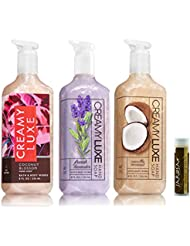 COCONUT BLOSSOM, FRENCH LAVENDER & VANILLA COCONUT Bath & Body Works Pack of 3 Gift Set of Creamy Luxe Hand Soap with a Jarosa Bee Organic Chocolate Bliss Lip Balm