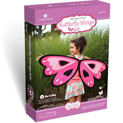 Butterfly Child Wings Kit - Cleververse Butterfly Wings Kids Sewing Kit Craft for Girls Ages 8+