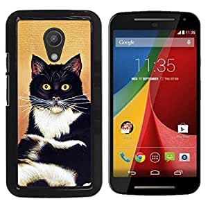 Vortex Accessory Hard Protective Case Skin Cover For Motorola Moto G ( 2Nd Gen ) - Cat Sitting Whiskers Shorthair Black White