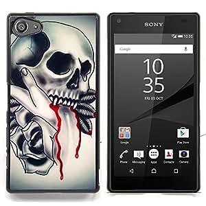 - Skull Vampire Blood Rose Feathers/ Duro Snap en el tel????fono celular de la cubierta - Cao - For Sony Xperia Z5 compact / mini