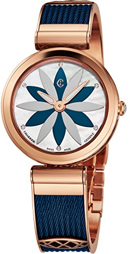 Charriol Forever Flower Womens Stainless Steel Rose Gold Watch - 32mm Analog Mother of Pearl Face Ladies Dress Watch - Blue Twisted Cable Band Swiss Made Quartz Luxury Watch for ()