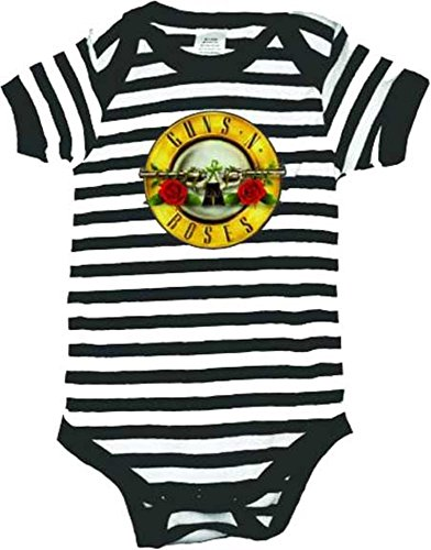 1Apparel Guns N Roses Striped Infant Baby Rock and Roll Creeper Romper (6 Months)