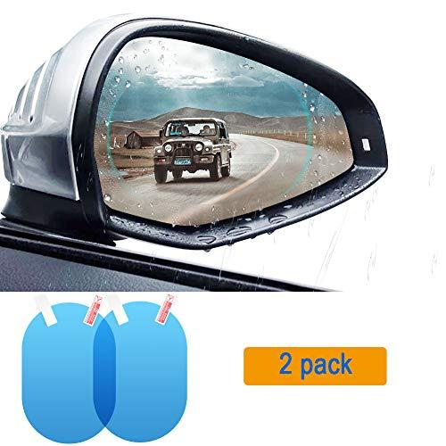 TekkPerry Car Anti Water Mist Film, Car Rearview Mirror Film, Rainproof Anti-Fog Anti-Glare Anti Mist Door Back Mirror Window Protective Film, 2PCs Universal Cars/SUV/Bus Screen Protector ()