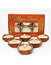 Alooatta Diwali Diyas - Six Diwali Diya Lights - Jasmine Scented Beautiful Diwali Decorations - Soy Wax Candle Set for Diwali Decoration - Beautiful Traditional Diwali Diya Light 6-Pack – Vegan