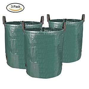 MVPOWER Set de 3pcs x 272L de Bolas de Residuos para Jardín Bolsas de Basura de Desechos de Jardín Bolsa Resistente y Plegable para Hoja Césped Siembra Color Verde