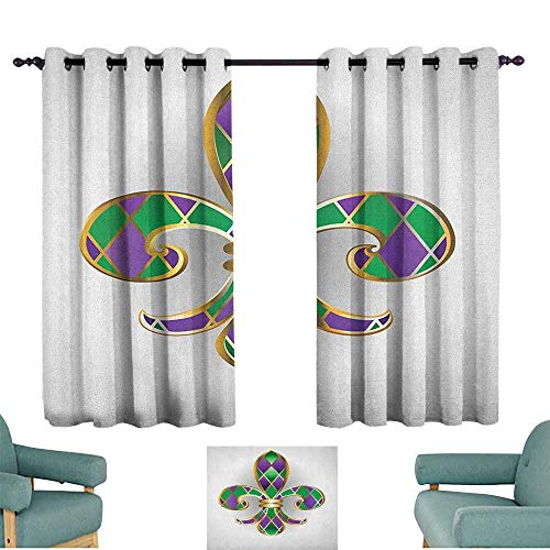 WinfreyDecor Fleur De Lis Polyester Curtain Gold Colored Lily Symbol with Diamond Shapes Royalty Theme Ancient Art Set of Two Panels 55