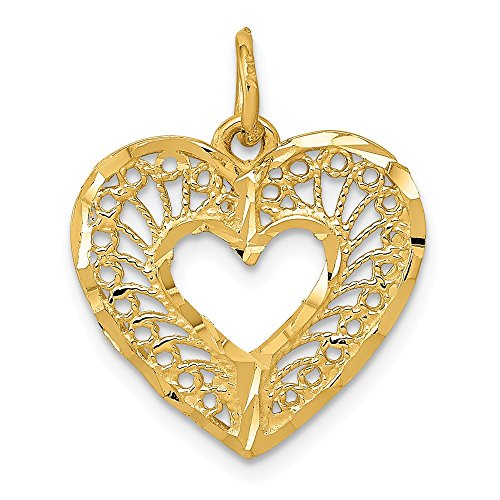 (14k Yellow Gold Diamond Cut Filigree Heart Charm or Pendant, 17mm)
